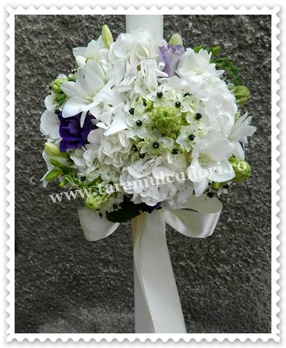 Lumanari nunta din hortensie si orhithogalum.7381
